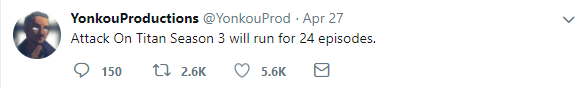 Attack on Titan Season 3 Length Tweet